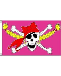 Pirate Girl Skull Flag (90x150cm)