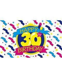 Happy 30th Birthday Satin Flag (15x22cm)