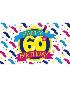 Happy 60th Birthday Satin Flag (15x22cm)