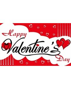 Happy Valentines Day Satin Flag (15x22cm)