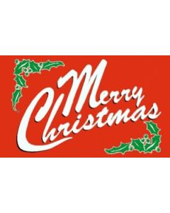 Merry Christmas Red Satin Flag (15x22cm)