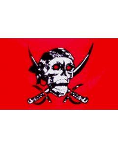Red Skull Satin Flag (15x22cm)