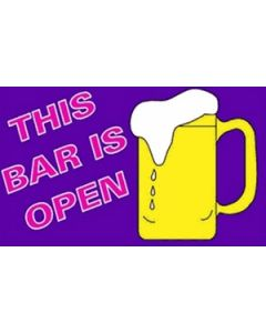 This Bar Is Open Satin Flag (15x22cm)